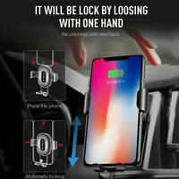 Automatic Qi Wireless Car Charging Charger Mount Clamping Vent Tool Holder O6M9