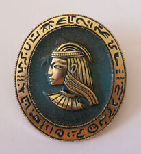 Revival brooch Art Deco style 1980s Large gold tone and petrol blue Egyptian