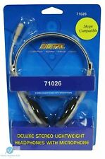 PC Headset with Microphone Deluxe Stereo Skype MSN Compatible Lightweight NEW