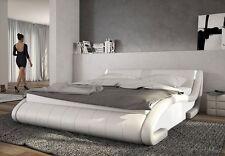 Polsterbett 180x200 Weiß Kunstlederbett Ehebett Bett Doppelbett Designbett LED