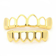 Hip Hop Mouth Teeth Grills Grillz Open Hollow Top & Bottom Set Custom Fit New