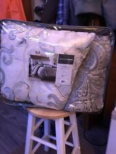 Madison Park Emory 6 Piece King Duvet Cover Set Taupe / Brown / Lt Blue Paisley