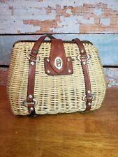 Vintage Wicker Rattan Clam Shell Straw Purse Leather Handles EUC!