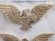 Pr Vintage Antique Gold Metallic Thread Eagle Applique Unused Lampshade Pillow
