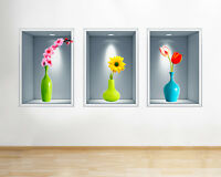 Q180w Flowers Vase Colourful Living Window Wall Decal 3D Art Stickers Vinyl Room