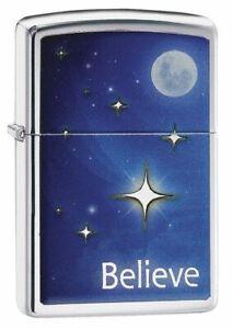 Zippo Lighter Stars Moon Believe High Polish Chrome Sealed