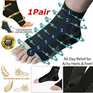 2x Foot Heel Compression Socks Arch Pain Relief Plantar Fasciitis Support Pair