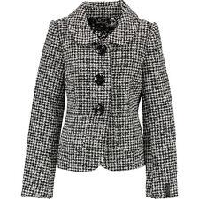 NUOVO Killah Nero/bianco aderente lana pied de poule giacca a quadretti UK12 /