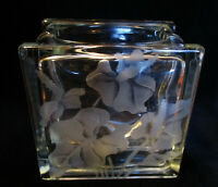 Hawaii VINTAGE ETCHED GLASS BLOCK VASE Anthurium Frank Oda 5 3/4x 5 3/4 x 4