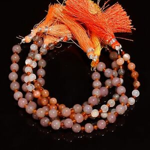 """Natural Pink Chalcedony Carnelian Gemstone Smooth Beads 7"""" Strand For Jewelry"""