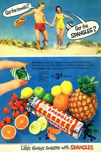 Spangles Sweets Summer Holiday Advert Vintage Retro Style Metal Sign, Beach