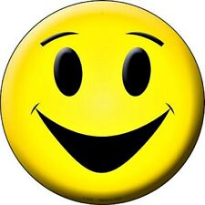 """Classic Yellow Smiley Face 12"""" Round Metal Sign Fun Novelty Home Wall Decor"""