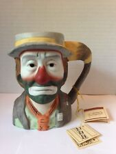 1984 Emmett Kelly Jr. Music Box Clown Face Bust Mug Stein Flambro Circus Sad