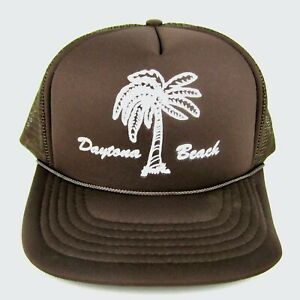 Vintage 80s (Daytona Beach) Brown Snapback Mesh Trucker Hat Cap- New! Excellent!