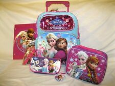 "FROZEN 14"" ROLLING BACKPACK,FROZEN LUNCHBOX,PENCIL CASE,AND STATIONARY SET-NEW!"