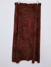 Womens Long Skirt Size 16T Multicolor Paisley Pattern A Line Stretch Polyester