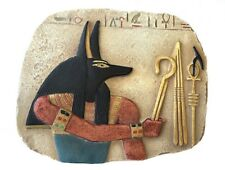 Anubis Holds Symbols of Pharaoh Crook Flail Small Egyptian Wall Relief Teaching