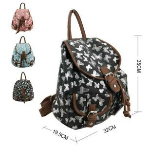 New Girls Butterfly Print Backpack Ladies Canvas Rucksack