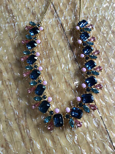 NWT J.Crew AI405 summer crystals statement necklace blue sky