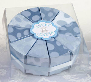 Set of 10 Blue, Pink or Yellow Baby Shower Favor Boxes Cake Centerpiece Favor