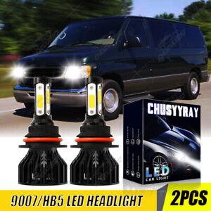 White For Ford ECONOLINE E150-E450 1995-2007 9007 LED Headlight Bulbs Hi-Lo Beam