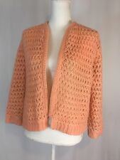 Vtg 50s 60s Millaine Pink Acrylic Mohair 3/4 Sleeve Cardigan Scarf Lined Sweater