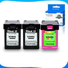 2PK Black F6U64AN+1PK Color F6U63AN 63XL Ink For HP Deskjet 2132 2133 2134 3630