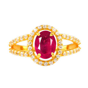 14KT Gold With 2.00Ct 100% Natural Burmese Red Ruby & IGI Certified Diamond Ring