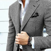 Men Houndstooth Dogstooth Blazer Suit Checkered Dinner Wedding Prom Tuxedos Suit