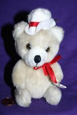 bear ornament Christmas   White hat articulated movable arms and legs