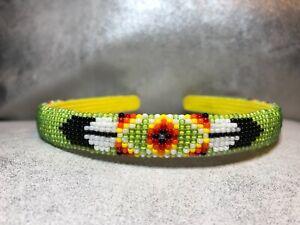 Native American green Beaded Headband