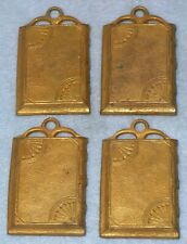 """4 Antique AESTHETIC MOVEMENT Brass 1 ½ x 2"""" BOOK COVER FURNITURE MOUNTS Hardware"""