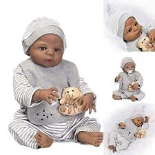 Black Skin Reborn Baby Doll Real Handmade Lifelike Gift Toy Full Silicone Body