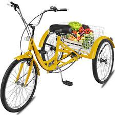 24'' 3 Wheel Adult Tricycle 300LBS Bike Shimano 7 Speed Yellow W/ large Basket