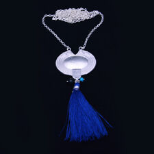 Turquoise 925 SilverPlated Handmade Jewelry Silk Tassel Pendent Sweater Necklace