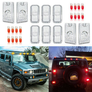 10xClear Roof Cab Marker Light Covers for 2003-2009 Hummer H2 SUV SUT w/ 16Bulbs