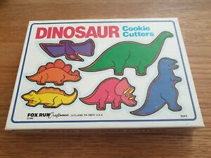 Vintage Fox Run 1985 Dinosaur Cookie Cutters, made in USA