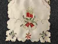 Christmas Holiday Party Poinsettia Candle Embroidered Lace Placemat Runner Beige