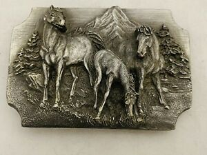 Vintage Siskiyou Buckle Co. Belt Buckle Frontier Horses 1989