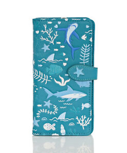 Shagwear Shark Pattern Large Zipper Bi-Fold Women's Wallet (Choose Color)