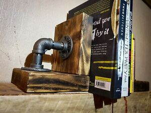 Industrial rustic bookends, urban vintage style made using iron pipe, Steampunk