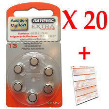 20 plaquettes de 6 piles auditives 13 (orange) RAYOVAC pour appareils auditifs