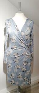 Ghost UK 14 Dress Light Blue Jersey Faux Wrap Leaf Print Long Sleeve