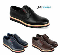 Mens Brogue Casual Lace Up Shoes Smart Formal Office Work Wedding Dress Style