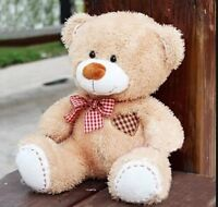 Teddy Bear Grid Heart Plush Scarf Beige Stuffed Animals Soft Toys Doll Gift 30cm