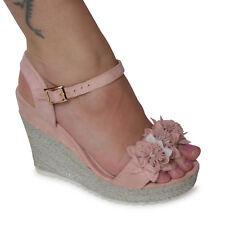 Damen Sandalen Gr. 36 Rosa Plateau Keilabsatz NEU Wedge Blumen High Heels