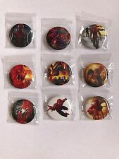 NEW SMALL SPIDERMAN BADGES (9 PACK)~PARTY BAG FILLERS /GIFTS/PRIZES
