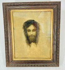 More details for antique wooden frame & back picture jesus christus very old enigmatic image