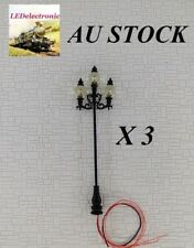 3 pcs. European style 3-Arms LED Metal Street Lamp lights, diorama/model train