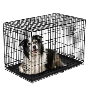 "Double-Door Folding Dog Crate with Divider, Large, 42""L Vibrant Life"